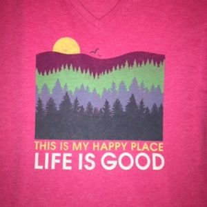 NWT Life is Good THIS IS MY HAPPY PLACE Large pink